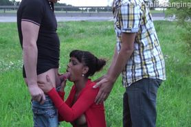 Cute teen girl PUBLIC orgy by a highway