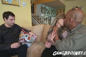 Interracial Threesome Cuckold in the Couch