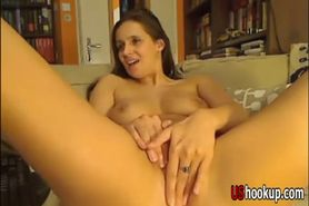 Hot and sexy horny babe plays with pussy