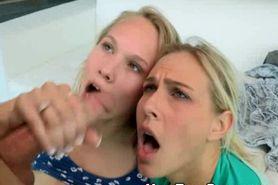 Blonde MILF And Teen Sharing Facial