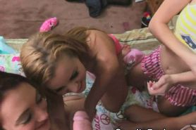 Wild Women Import Dick To Suck Together At Party