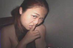 Asian Takes Facial Through Hole
