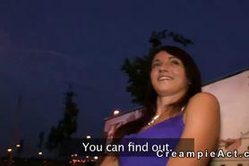 Hot brunette girl creampie in public park at night