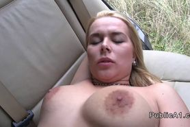 Big ass amateur bangs in the car in public
