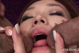 Asian slut deep throat threesome blowjob