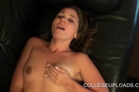College cutie fucked on a leather sofa