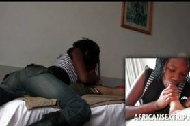 Sensual Afro teen blowing white giant dick