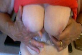 orange top and bra