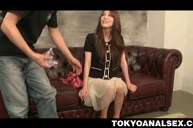 Japanese teen sweetie gets undressed and butt hole toye
