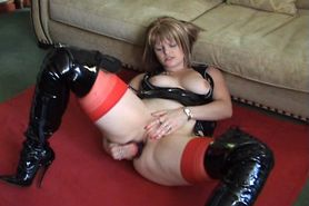 british slut in pvc and thigh boots