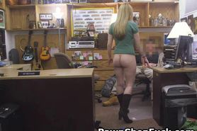 Blonde Teasing In Back Of Pawn Shop