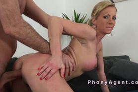 Fake big tits blonde banged in casting