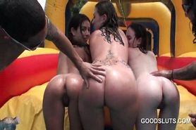 Outdoor pool orgy with naked college girls flashing ass