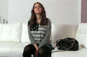Brunette amateur fucked by big dick on her casting