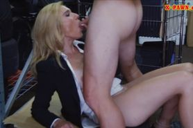 Blonde milf pussy nailed at the pawnshop