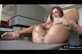 Horny big boobed girl fisting her wet pussy