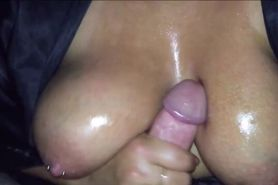 Hot Cum On A BBW's Big Boobs