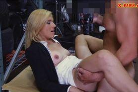 Sexy blonde milf banged in storage room