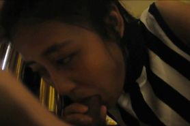Innocent Asian gal first time BJ